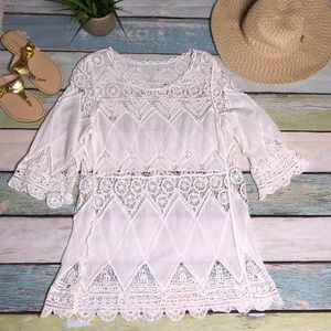 Other - Beach cover up white crocheted and gauze